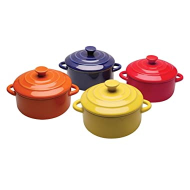 BW Brands Colorful Stoneware Mini Casserole Pots With Lids - Set of 4,Assorted