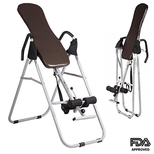 Cirocco Foldable Inversion Table for Backpain with Backrest – Heavy Duty 330 Lbs Capacity Folding Back Stretcher Machine Fitness Chiropractic Exercise Reflexology Safe for Pain Relief Neck Fatigue by Cirocco