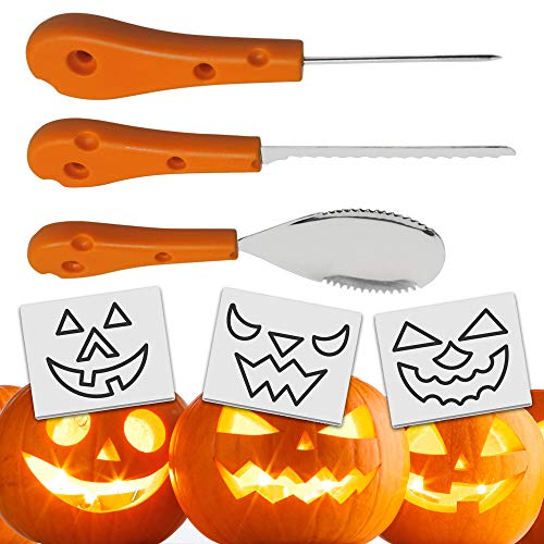 THE TWIDDLERS 3 Piece Halloween Stainless Steel Carving Kit for Pumpkins - Premium Quality, Includes 12 -