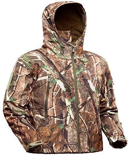 ADAFAZ Hunting Jacket Waterproof Hunting Suit Camouflage Hoodie Windproof Camo Coat for Men Hunting (US XL= Tag XXL)