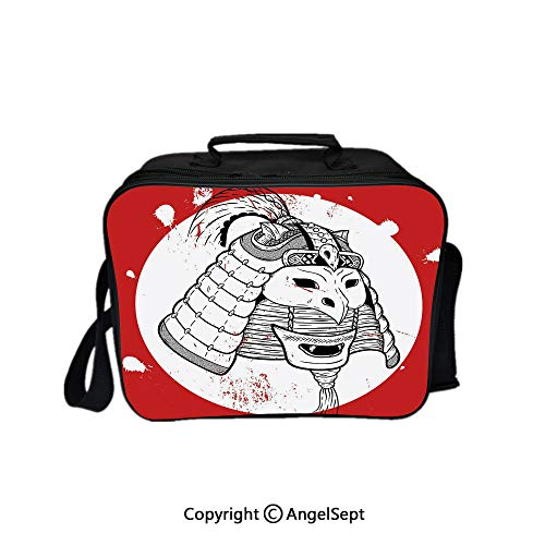 Travel Picnic Lunch Box Wide Open Lunch,Asian Ethnic Mask Design Grunge Stained Look Ronin Fighter Face Red White Black 8.3inch,Lunch Bags For Unisex Adults