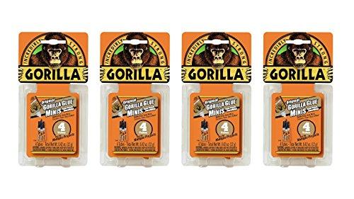Gorilla Original Gorilla Glue Minis, Waterproof Polyurethane Glue, Four 3 gram Tubes, Brown, (Pack of 4)