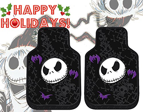 Nightmare Before Christmas NBC Jack Skellington Purple Bats and Cross Bones Tim Burton Disney Front Auto Car Truck SUV Vehicle Rubber Floor Mats Set - 2pc]()