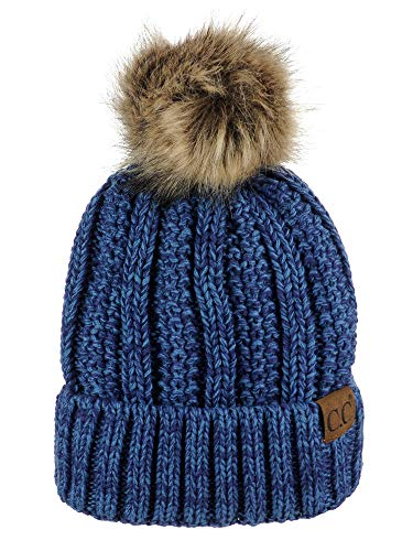 C.C Thick Cable Knit Faux Fuzzy Fur Pom Fleece Lined Skull Cap Cuff Beanie, Blue/Denim