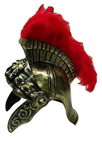 Roman Costume Helmet with Red Feather Plume, Gold,