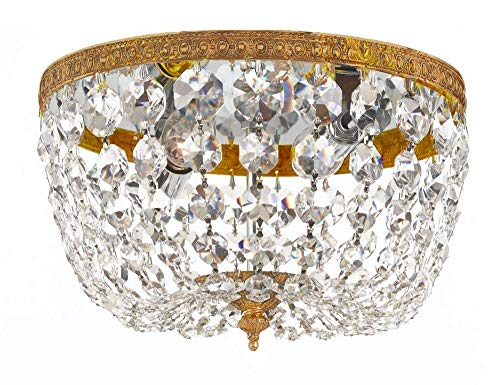 Crystorama 710-OB-CL-SAQ Crystal Two Light Ceiling Mounts from Richmond collection in Brassfinish,