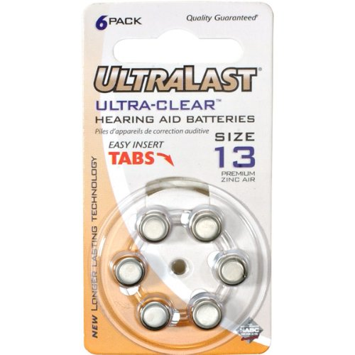 - Ultra-Clear Hearing Aid Battery Retail Pack - Size 13