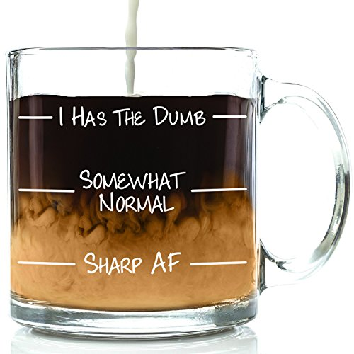I Has The Dumb Funny Glass Coffee Mug - Great Birthday Gift Idea For Men & Women- Humorous Valentines Day Present For Wife, Husband, Mom, Dad, Girlfriend, Boyfriend, Friend, Office - Card For New Prescription Gift