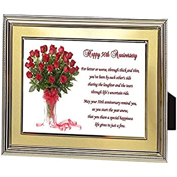 Amazon 50th Fifty Years Wedding Anniversary Poem In Gold Frame