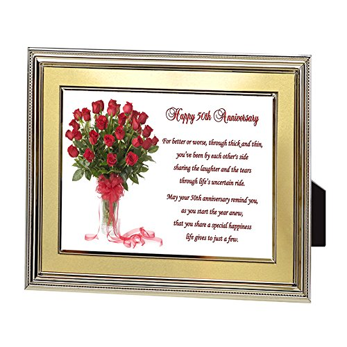 Couple Gift for 50th Wedding Anniversary, Fifty Years Poem in Gold Frame