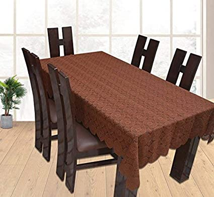 Yellow Weavestm Designer Dining Table Cover Net Fabric 60 X 90 Inches, Color - Brown
