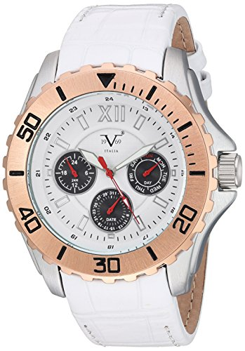 V19.69 Italia Men's Quartz Metal and Leather Casual Watch, Color:White (Model: 37VM102301A)