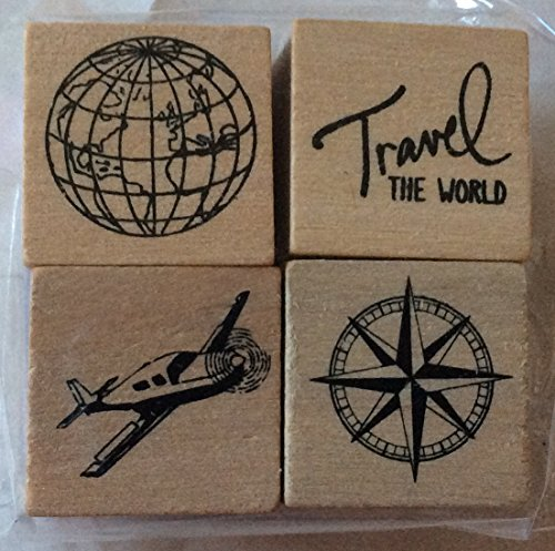 (Set of 4 Travel Mini-Stamps - Wood Mounted - Globe, Airplane, North Symbol,