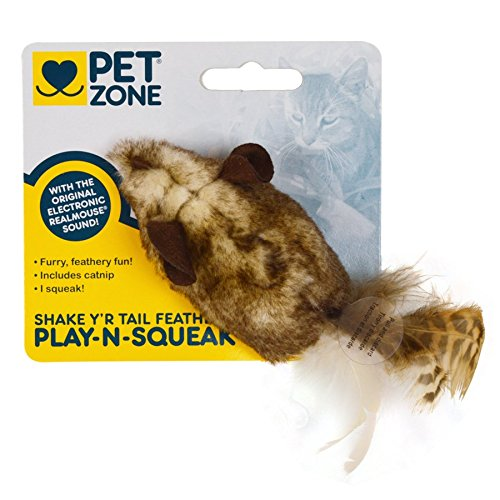 Pet Zone 1550012641 Shake Y'r Tail Feather Play-N-Squeak® C