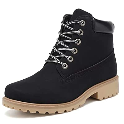 Geddard Waterproof Ankle Boots for Women Low Heel Lace Up Work Combat Boots   Shoes