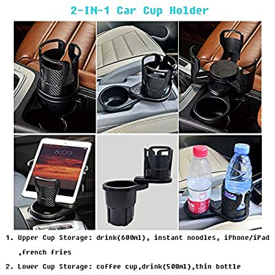 Car Cup Holder Expander Adapter with 360¡ãAdjustable Base - Buffer Sponge Pads, 2in1 Cup Holder Adapter Hold Most 17-20 oz Coffee Drinks Bottles Phone/Tablet Mount: Automotive