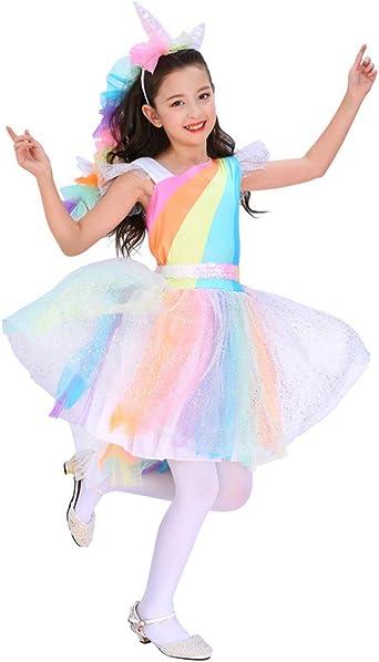 Amazon.com: Seasons Direct Halloween Girls Rainbow Unicorn Costume ...