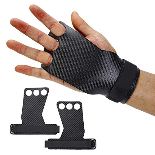 MRJHS Polyester Cross Training Gloves Gymnastics Hand Grips with Wrist Support for Gymnastics & Crossfit, Pull-ups, Weight Lifting. WODs w,Wrist Straps.(3 Hole M)