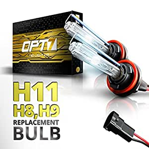 OPT7 Bolt AC H11 Replacement HID Bulbs Pair [6000K Lightning Blue] Xenon Light