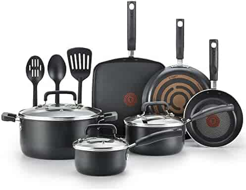 T-fal Hard Anodized Cookware Set, Nonstick Pots and Pans Set, 12 Piece, Thermo-Spot Heat Indicator, Black
