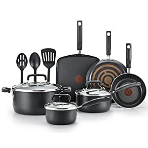 T-fal C530SC Signature Nonstick Dishwasher Safe Cookware Set, Nonstick Pots and Pans Set, Thermo-Spot Heat Indicator, 12 Piece, Black
