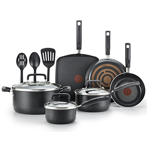 (T-fal C530SC Signature Nonstick Dishwasher Safe Cookware Set, Nonstick Pots and Pans Set, Thermo-Spot Heat Indicator, 12 Piece, Black)