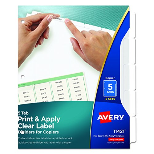 Avery Index Maker White Dividers, 5-Tab, 8.5 x 11 Inches, Clear, 5 Sets (11421) (5 Ring Tab Book)