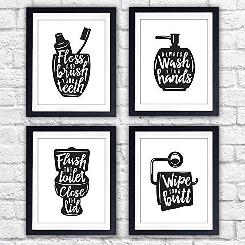 Funny Bathroom Signs (Set of 4) - Unframed - 8x10s | Bathroom Decor Wall