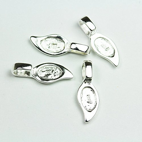 2pcs 925 Sterling Silver Glue-on Flat Pad Bails Jewellery findings - ()