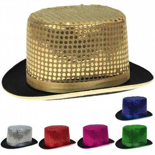 Pailletten Zylinder Hut Glitzer Kappe Sylvester Karneval Party 6 Farben (Gold)