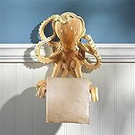 Design Toscano Holder - Tentacles Octopus Beach Toilet Paper Roll - Bathroom Wall Decor, Multicolor