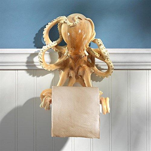 Design Toscano Toilet Paper Holder-Tentacles Octopus Beach Bathroom Decor Roll Wall, Multicolor