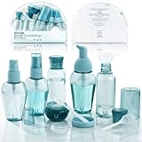 WAYCOM Travel Bottle Set 10pcs,Portable Travel Size Empty Bottles BPA Free Airline Approved for Clear Makeup Cosmetic Toiletries Liquid Containers with Zipper Bag(blue-10pcs)