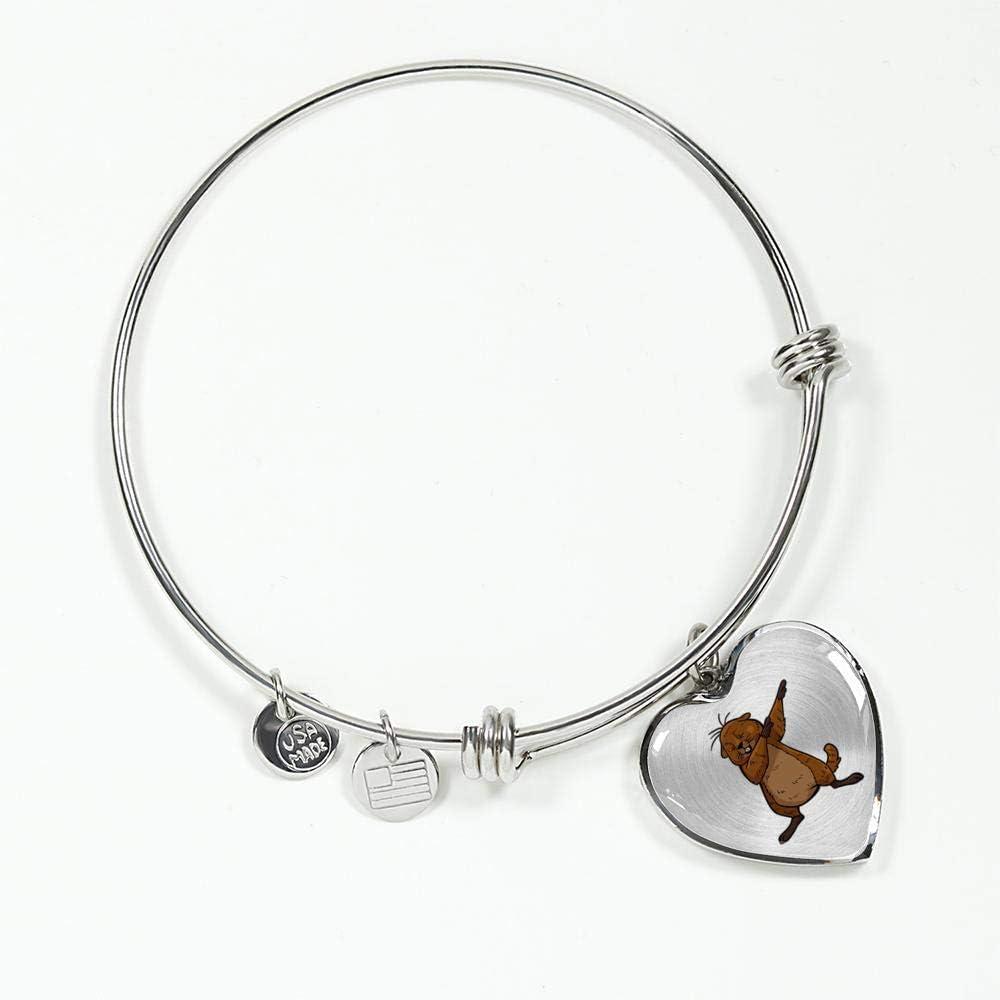 Dabbing Beaver Gifts for Zoologists Animal Lovers Groundhog Womens Heart Pendant Bangle Bracelet