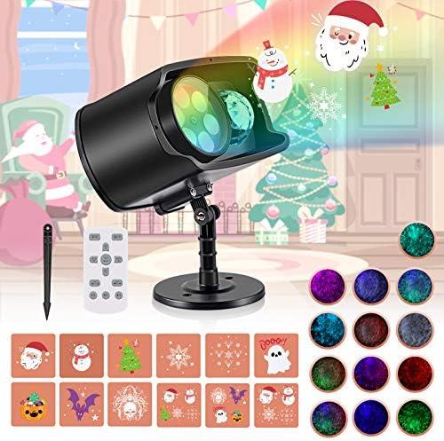AGPTEK Proiettore Luci Natale Include 12 SCHEMI 13 ONDE, IP65 Proiettore LED Esterno & Interno con Telecomando Adatto per Halloween Natale Compleanno Party Festa