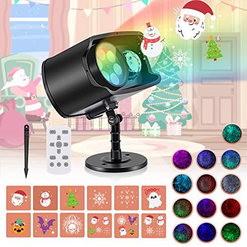 Luces Proyector de Navidad, AGPTEK Decoración Luz de Proyector Exterior Impermeable con Diapositivas Incorporado…