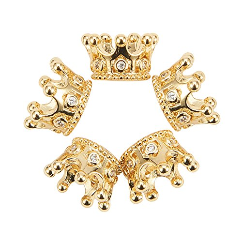 NBEADS 10pcs Cubic Zirconia Pave King Crown Bracelet Connector Spacer Charm Beads, Loose Beads for Bracelet Necklace DIY Jewelry Making Crafts Design - Pave Crown Necklace