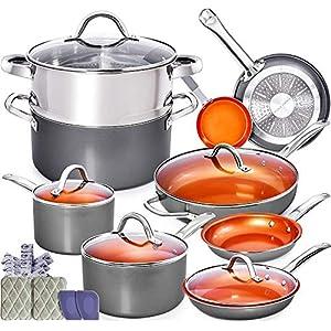 Home Hero Copper Pots and Pans Set - 13pc Copper Cookware Set Copper Pan Set Ceramic Cookware Set Ceramic Pots and Pans… 14