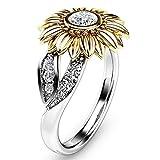 Best Rings For Wife Girls - FirstFly Sunflower Ring, Women Girls Lovers Diamond Sunflower Review