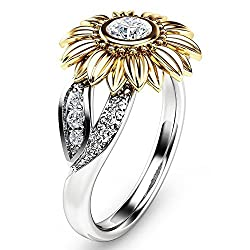 Firstfly Sunflower Ring, Women Girls Lovers Diamond Sunflower Crystal Rings Engagement Wedding Band Ring Jewelry Set (Yellow, Us Size 8)