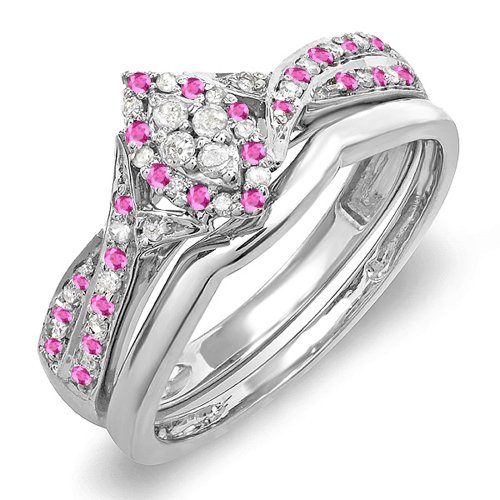 - Dazzlingrock Collection Sterling Silver Pink Sapphire & White Diamond Marquise Shape Ring Set, Size 6.5
