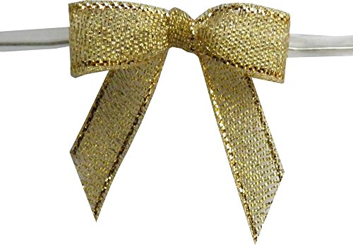 Small, Metallic Gold Twist Tie Bows- 100pc by Baywind Limited