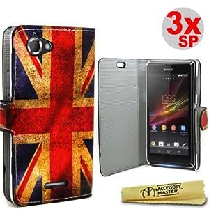 Accessory Master- Funda Libro de pu Cuero con 3 Protectores de Pantalla para Sony Xperia Z L36h - Bandera Reino Unido Vintage
