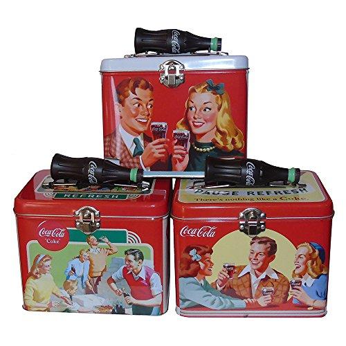Coca-Cola Galvanized Tin Train Case with Bottle Handle Set - Coca Cola Tin Bottle