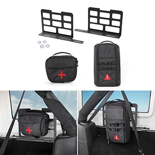 (RT-TCZ Trunk Interior Metal Rack Storage Shelves + Tool Kit Storage First Aid Bag for Jeep Wrangler JK JKU JL TJ YJ 1955-2018 Unlimited)