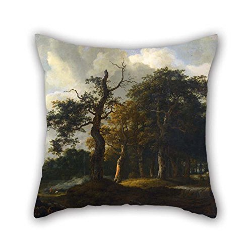 Oil Painting Jacob Van Ruysdael - A Road Through An Oak Wood Pillow Cases 20 X 20 Inches / 50 By 50 Cm Gift Or Decor For Father Indoor Club Dance Room Birthday Monther - 2 Sides for Christmas