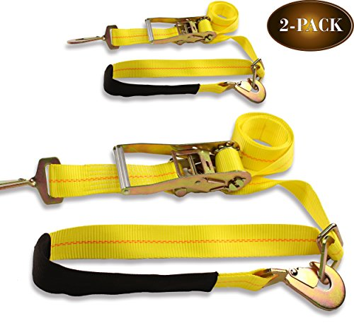 DC Cargo Mall 2 Ratchet Axle Strap Tie Downs (2'' wide x 114'' long – 2 Pack) with Adjustable Ring and Slipfree Webbing for Secure Auto Hauling, Heavy-Duty Tow Straps for Car Trailers and Auto Carriers by DC Cargo Mall