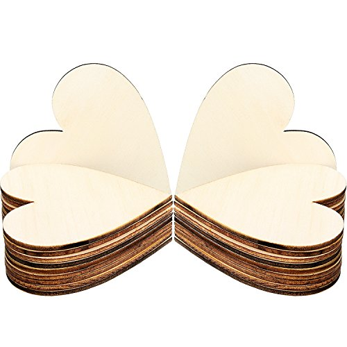 Frienda 3.15 Inch Wood Hearts Slices Wooden Discs Heart Shaped Embellishment for Wedding, Decor Arts Crafts DIY, 50 Pieces (3.15 inch) -