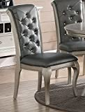 Cheap Charming Antique Silver Formal Dining Chair (set of 2)