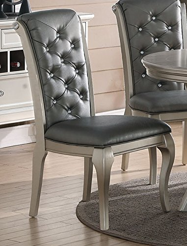 Formal Dining Chairs - Charming Antique Silver Formal Dining Chair (set of 2)